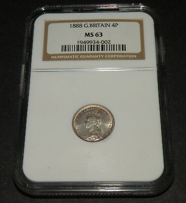 1888 Fourpence Silver Groat NGC MS 63 BU 120.000 Only RARE Coin Great Britain UK