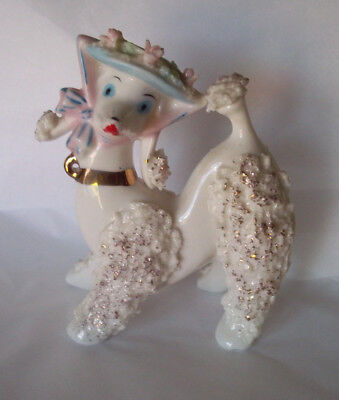 Vintage French poodle dog ceramic mid century gold spaghetti trim rare, perfect!