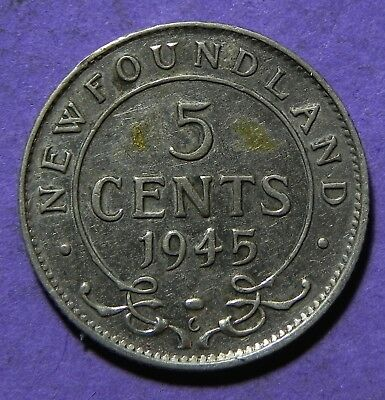 1945 Newfoundland 5 Cent Silver King George-V Coin!!  5 Cent Coin