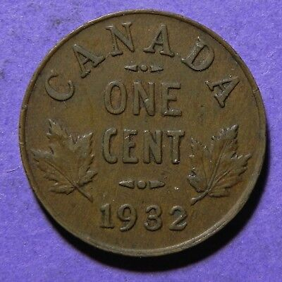 1932 Canada Small One Cent King George-V Copper Coin!!  1 Cent Coin