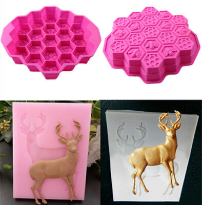 19 Cell Silicone Bee Honeycomb Deer Elk Cake Chocolate Ice Bakeware Mold Mould
