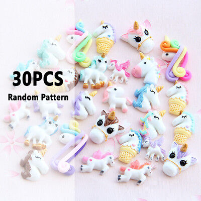 Cute Unicorn Slime Charms Resin Flat-back Buttons Embellishment DIY Slime Toys