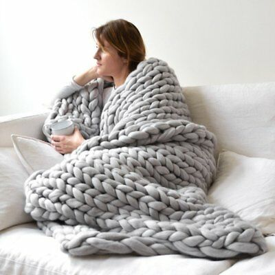 Soft Warm Hand Chunky Knit Blanket Thick Yarn Wool Bulky Bed Knitted Throw AWW