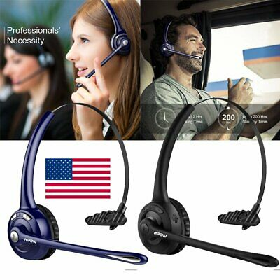 Mpow Pro Trucker Bluetooth Headset Phone Headset Headphone with Mic For iPhone