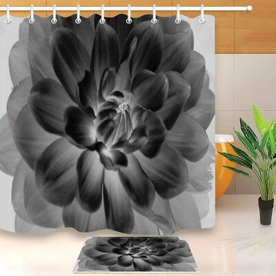 Black And White Flower Shower Curtain Liner Bathroom Mat Polyester Fabric Hooks