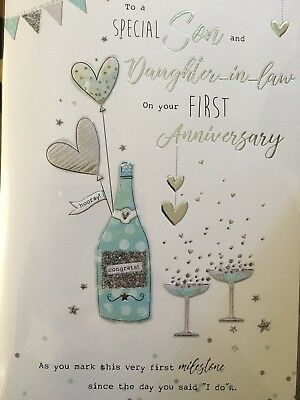 son daughter in law 1st anniversary card 3 34 picclick uk