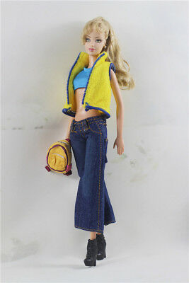 5 in1 Set Fashion Outfit  Top+jean+bag+shoes pant  Suit FOR Barbie Doll Clothes