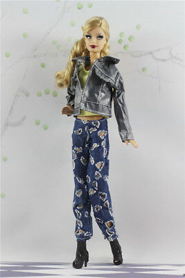 3 PCS Set Fashion Outfit  Gray Jacket Top+vest+jean Suit FOR 11.5in.Doll Clothes