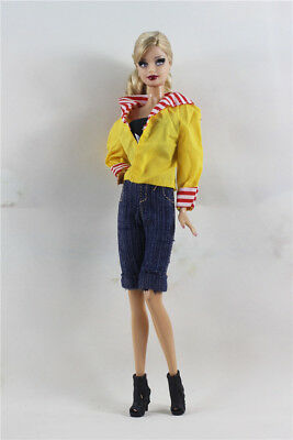 3 PCS Set Fashion Outfit  Yellow Top+vest+jean Suit FOR 11.5in.Doll Clothes