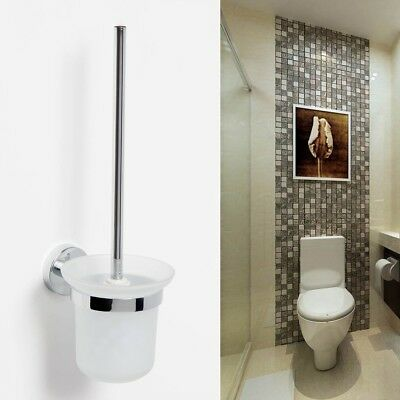 Round Wall Mounted Chrome Toilet Brush Holder Set Frosted Glass Cup Bathroom Au