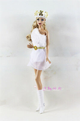 3in1 Set Fashion White Fur Dress Skirt+Cap+Boots  FOR 11.5in.Doll Clothes Outfit