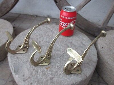 Antique Genuine Art Nouveau Lot 3 In Solid Brass Large Double Coat Hanging Hook