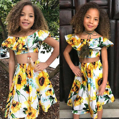 8fa01c23a6 Flowers Kids Baby Girl Off Shoulder Crop T-shirt Tops Dress Skirt Outfit  Clothes