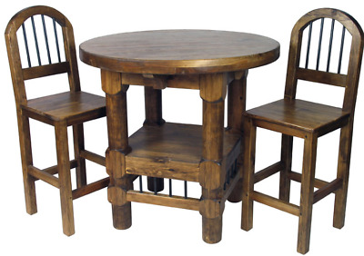 RANCH STYLE ROUND Bar Dining Table Set W Stool Chairs PC Rustic - Ranch style table