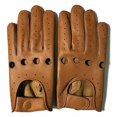 Mens Classic Driving Gloves Soft Genuine Real Lambskin Leather  Tan Genuine