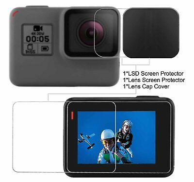 3 in 1 Tempered Glass LCD Screen Protector + Lens Cover Cap for GoPro Hero 6, 5