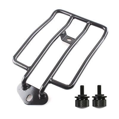 Black Luggage Rack Solo Seat w/ 2 Bolts For Harley Sportster XL883 1200 2004-15