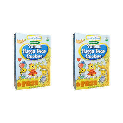 2X Healthy Times Organic Hugga Bear Cookies Vanilla Baby Feeding Daily Meal