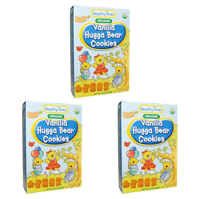3X Healthy Times Organic Hugga Bear Cookies Vanilla Baby Feeding Daily Meal