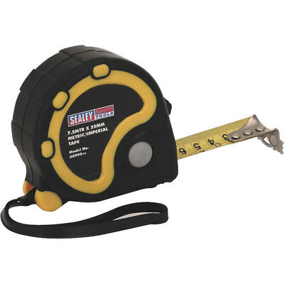 Sealey Rubber Jacket Measuring Tape Imperial & Metric 25ft / 7.5m 25mm