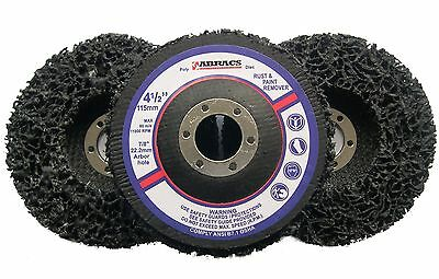 "3 x Abracs Poly Discs 115mm Rust & Paint Removal for 4 1/2"" Angle Grinder"