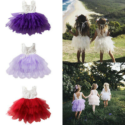 Girl Kids Princess Lace Dress Baby Bridesmaid Skirt Floral Backless Party Summer
