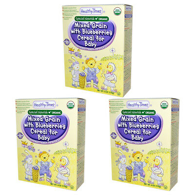 3X Healthy Times Organic Mixed Grain With Blueberries Cereal For Baby Feeding