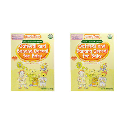2X Healthy Times Organic Oatmeal & Banana Cereal For Baby Feeding Daily Care