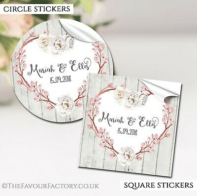 Chloe Rustic Heart Personalised Wedding Day favour labels glossy STICKERS