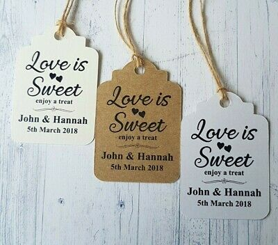 10 Personalised Wedding Favour Gift Tags Love Is Sweet Enjoy A Treat With Twine