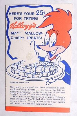 ESZ4111 Vintage Kellogg's Recipe Brochure w/ WOODY WOODPECKER & Thanks (c. 1958)