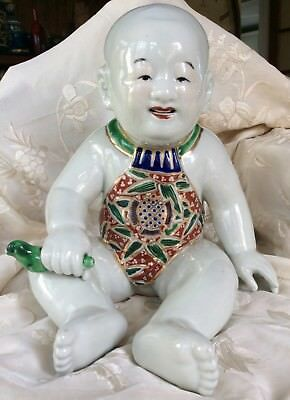 Chinese Japanese Porcelain 19th C Ho Ho Boy 20cm Famille Verte Qing Dynasty
