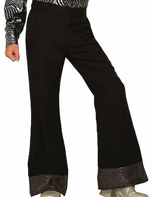 Disco Mens Adult Black 80S Dude Bell Bottom Costume Accessory Pants