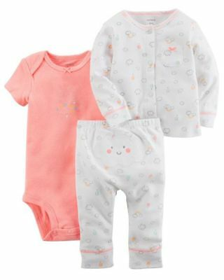 New Carter's Girls 3 Piece Cardigan Bodysuit Top & Pant Set NWT NB 3 6 12 Clouds