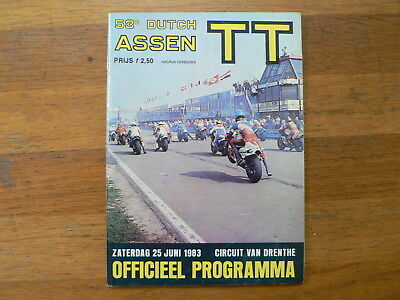 1983 Dutch Tt Assen Programme. Grand Prix,moto Gp Freddie Spencer  Honda 22,cs