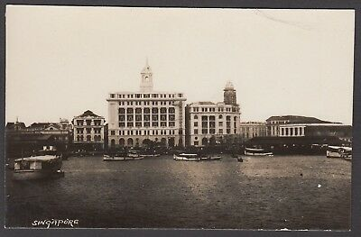 Postcard Singapore Malaysia early view of boats in Harbour RP