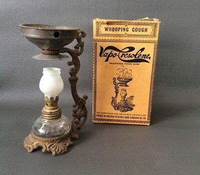 Antique VAPO-CRESOLENE Miniature Vaporizer LAMP Original BOX c.1890 BRASS Burner