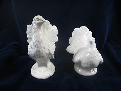 Vtg Italy Capodimonte White Ceramic Pair Of Bird Statues Crown N Mark Rooster
