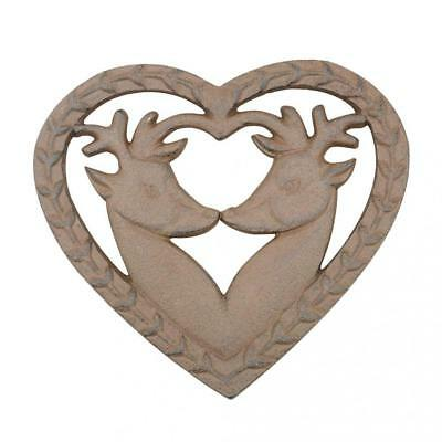 In ghisa a forma di cuore Twin Deer sottopentola – Woodland Stag in stile...