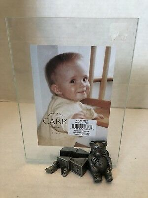 Carr Baby Bear & Blocks Picture Frame Boy Girl Shower Gift 3 1/2 X 5 Or 4 X 6