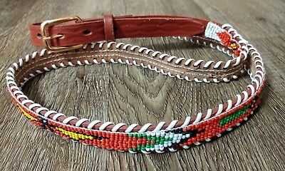 "Vintage Indian Native American Western Beaded Leather Belt 36"" to 42 waist"