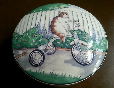 Cycle Cat Vanity Box Studio Nova Round Porcelain Tricycle Cats Flowers UT094/683