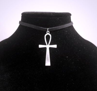 Silver Ankh Choker Necklace - Large Egyptian Spiritual Pendant