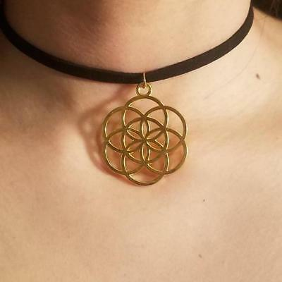 Gold Seed of Life Choker Necklace Sacred Geometry Pendant Jewelry