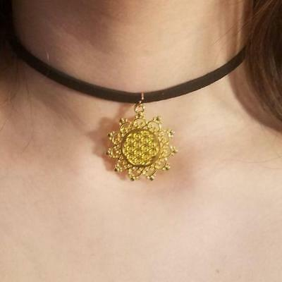 Star Fractal Choker Necklace Seed / Flower of Life Pendant