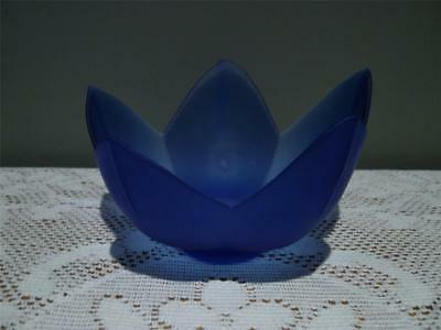 Bristol Blue Frosted Glass Lotus Candle Holder / Candlestick - Vgc