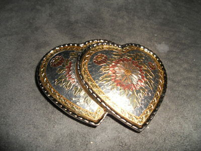 Ladies Double Heart Tri-Color Belt Buckle / Usa / Vintage In Great Shape