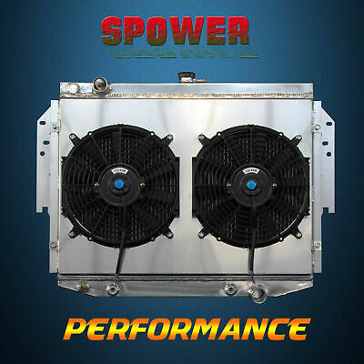 Aluminum Radiator + Fan Shroud For Chrysler Cordoba LeBaron Dodge Plymouth 76-89