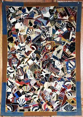 Victorian Crazy Quilt Ny State ~ Dense Embroidery ~ Cats Beading ~ Work Of Art
