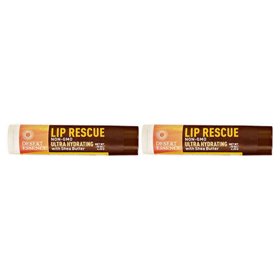 2X Desert Essence Lip Rescue Ultra Hydrating With Shea Butter Dry Cracked Care